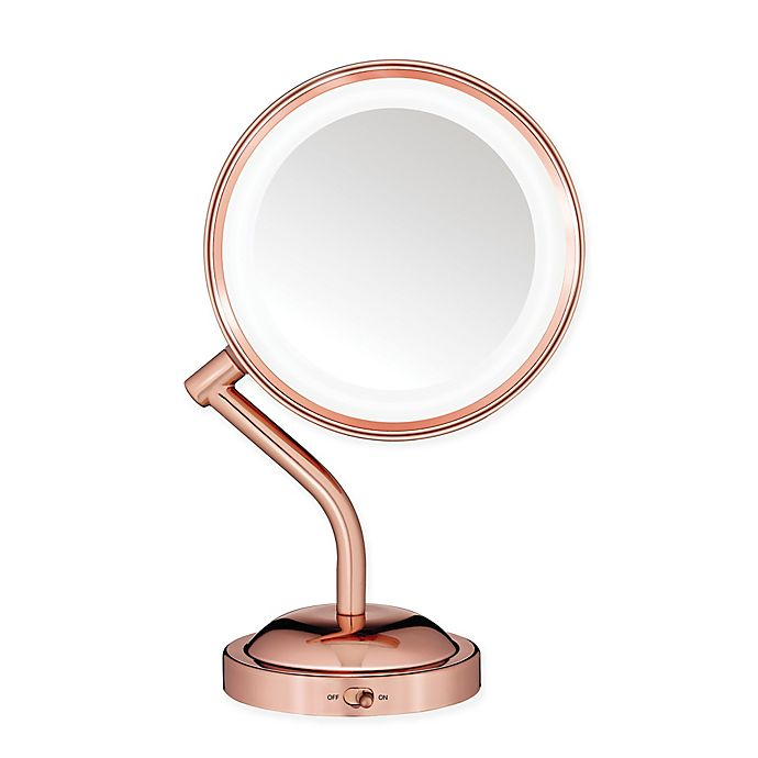 Alternate image 1 for Conair® Rose 1X/5X Lighted Vanity Mirror in Gold