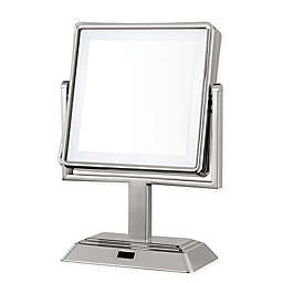 Conair® Square LED 1X/5X Lighted Vanity Mirror in Satin Nickel