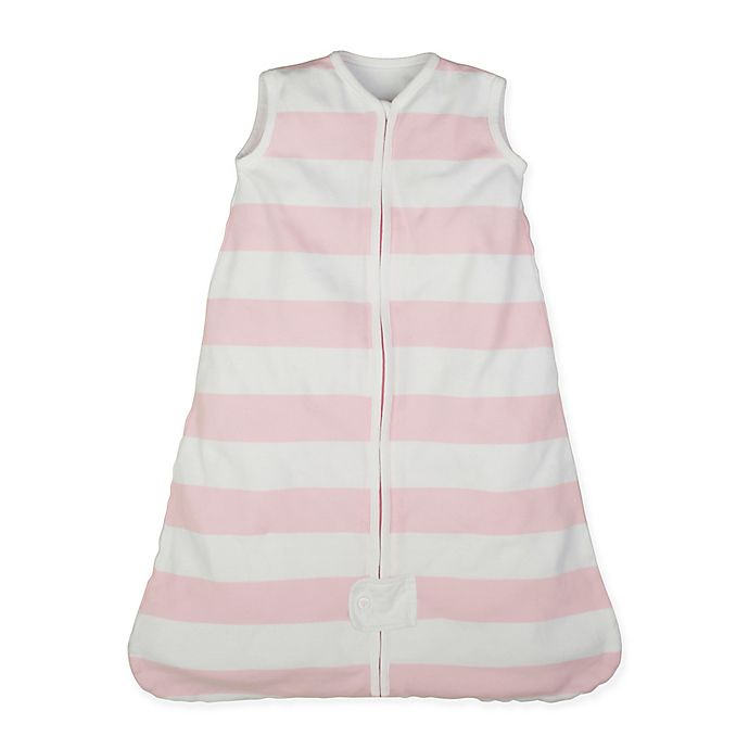 Alternate image 1 for Burt's Bees Baby® Rugby Stripe Beekeeper™ Large Organic Cotton Wearable Blanket in Blossom