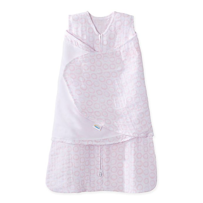 Alternate image 1 for HALO® SleepSack® Circles Muslin Cotton Swaddle in Pink