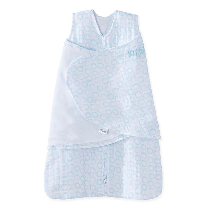 Alternate image 1 for HALO® SleepSack® Circles Muslin Cotton Swaddle in Blue