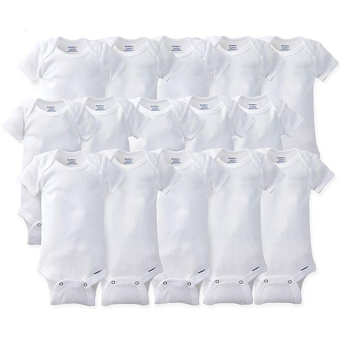 Alternate image 1 for Gerber ONESIES® Brand Size 0-9M 15-Pack Short Sleeve Bodysuits in White