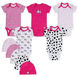 Gerber® Size 3-6M 10-Piece Dalmatian Bodysuit and Cap Set in Pink