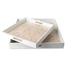 Surya Bevery Decorative Trays in White/Tan (Set of 2)