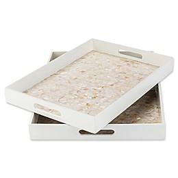 Surya Alessandra Decorative Trays in White/Tan (Set of 2)