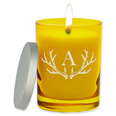 Carved Solutions Gem Collection Unscented Antler Initial Soy Wax Glass Jar Candle
