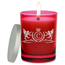 Carved Solutions Gem Collection Unscented Winged Lions Soy Wax Glass Jar Candle in Ruby