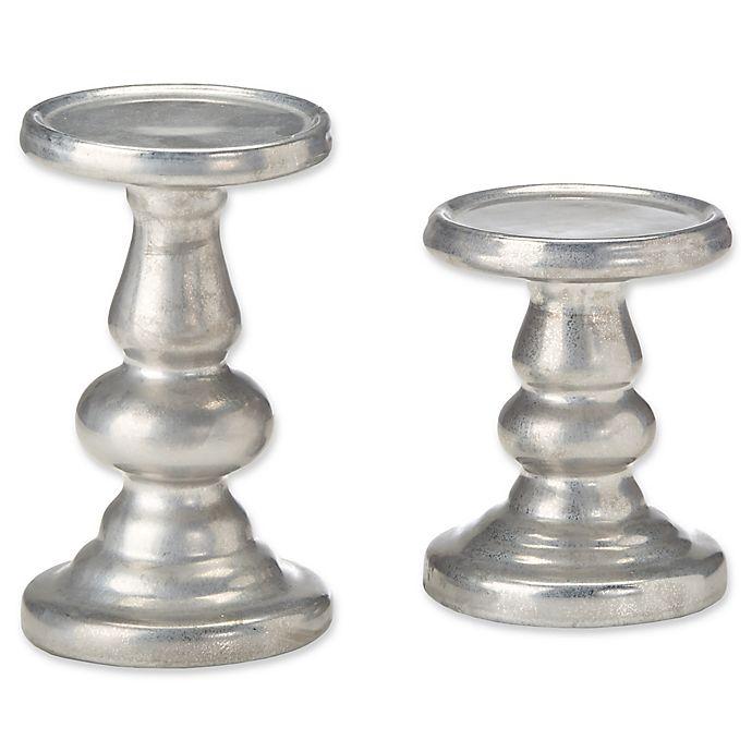 Alternate image 1 for Madison Park Leighton 2-Piece Ceramic Candleholder Set in Silver