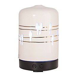ScentSationals Perched Melody Small Lighted Ultrasonic Essential Oil Diffuser in Ivory/Gold