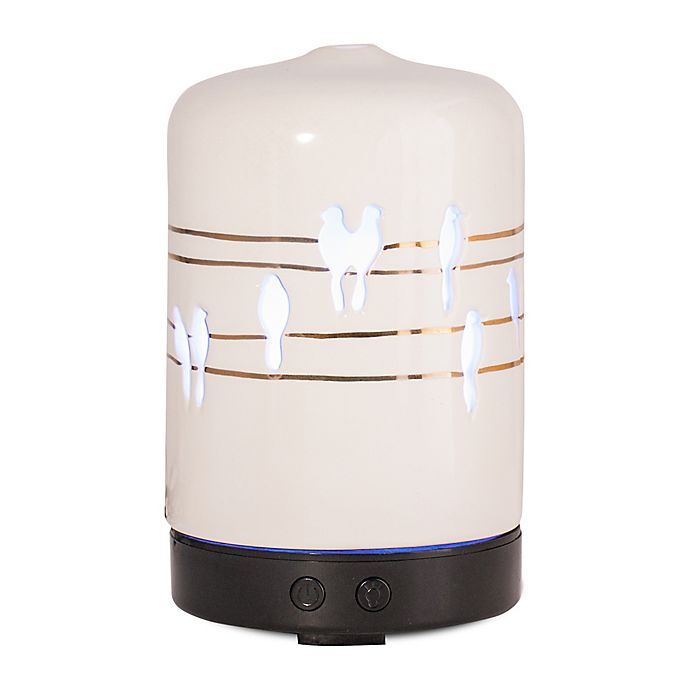 Alternate image 1 for ScentSationals Perched Melody Small Lighted Ultrasonic Essential Oil Diffuser in Ivory/Gold