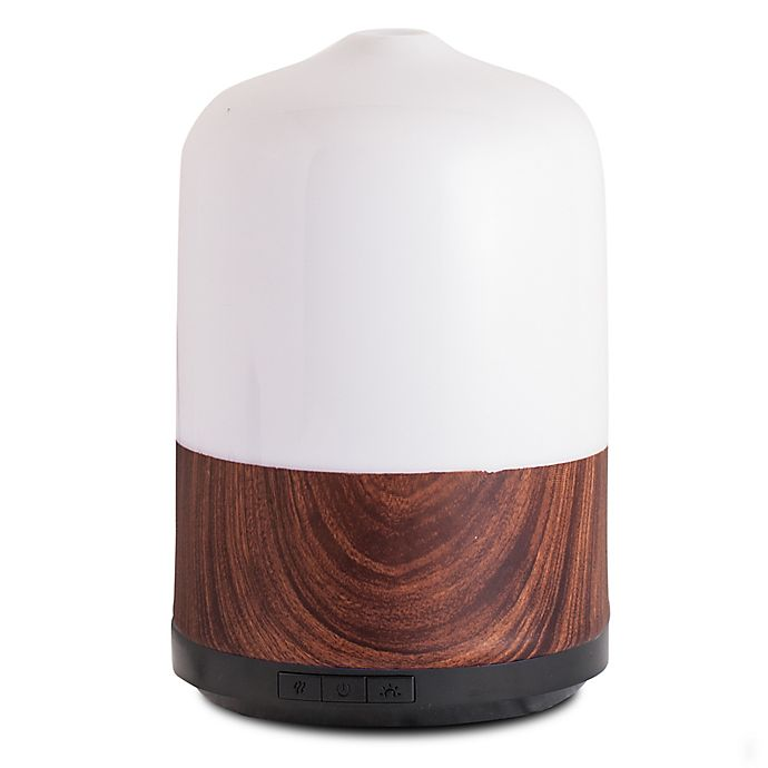 Alternate image 1 for ScentSationals Timber Large Lighted Ultrasonic Essential Oil Diffuser in White/Brown