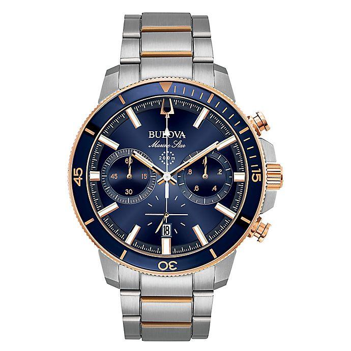 Alternate image 1 for Bulova Men's 45mm Marine Star Chronograph Watch in Rose-Goldtone Stainless Steel