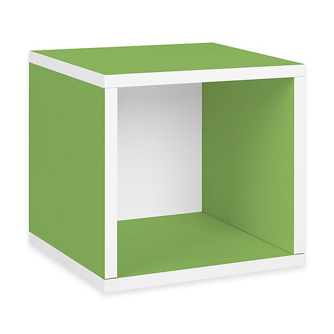 Alternate image 1 for Way Basics Tool-Free Assembly zBoard paperboard Stackable Storage Cube in Green