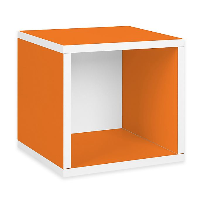 Alternate image 1 for Way Basics Tool-Free Assembly zBoard paperboard Stackable Storage Cube in Orange