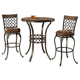 Hillsdale Lannis 3-Piece Bar Height Bistro Dining Set in Brown