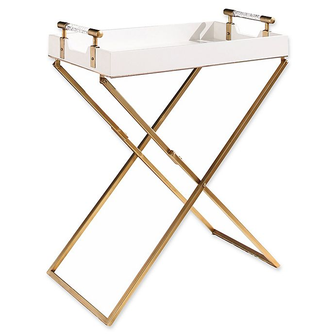 Alternate image 1 for Abbyson Living Carson Tray End Table in White/Gold