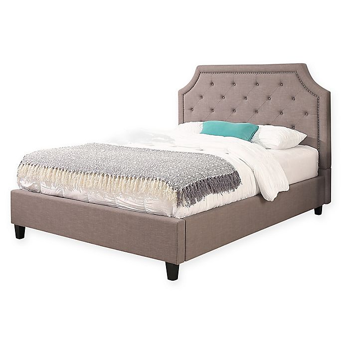 Alternate image 1 for Abbyson Living Aby Linen Upholstered Platform Bed in Grey