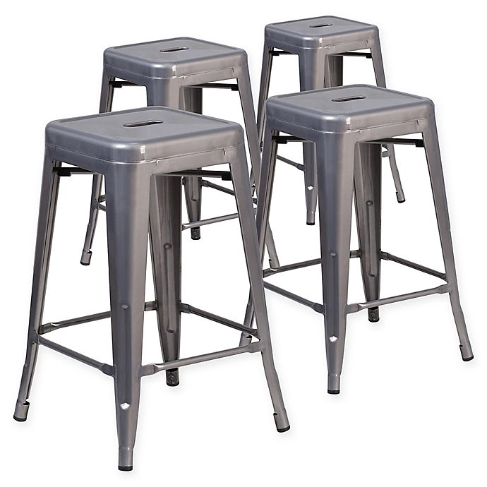 Alternate image 1 for Flash Furniture 24-Inch Backless Stackable Bar Stools (Set of 4)