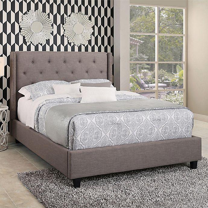 Alternate image 1 for Abbyson Living Jaden Upholstered Platform Bed in Grey