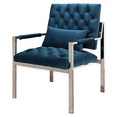 Abbyson Living™ McKenna Stainless Steel Accent Chair in Teal Blue