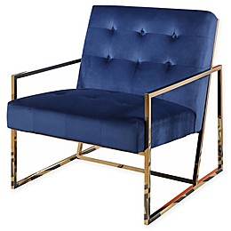Abbyson Living Corbin Stainless Steel and Velvet Armchair in Navy