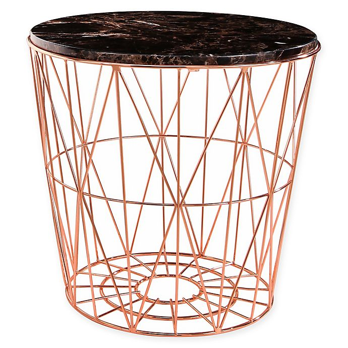 Alternate image 1 for Abbyson Living® Marble Steel End Table in Rose Gold