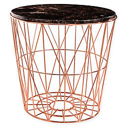 Abbyson Living® Marble Steel End Table in Rose Gold