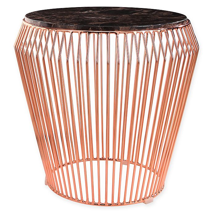 Alternate image 1 for Abbyson Living Termoli Marble and Steel End Table in Rose Gold