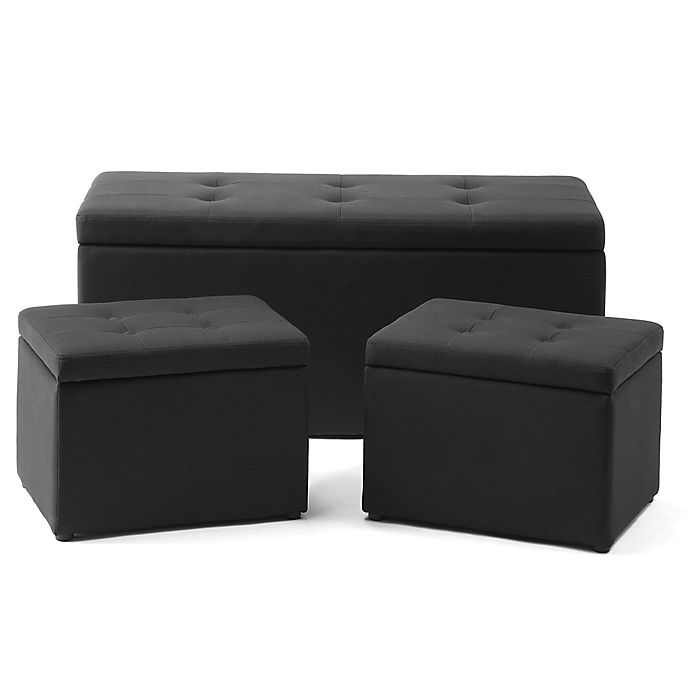 Astounding 3 Piece Ottoman Set In Black Bed Bath Beyond Gmtry Best Dining Table And Chair Ideas Images Gmtryco