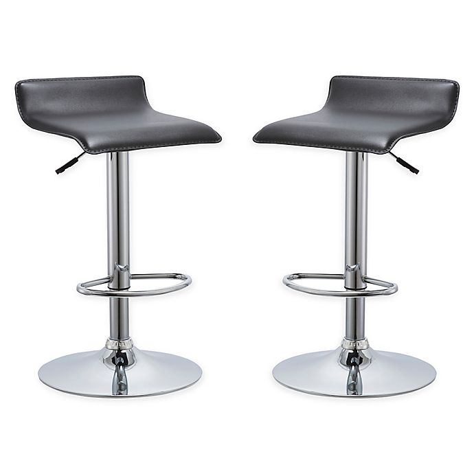 Amazing Airlift Bar Stools In Black Set Of 2 Bed Bath Beyond Gamerscity Chair Design For Home Gamerscityorg