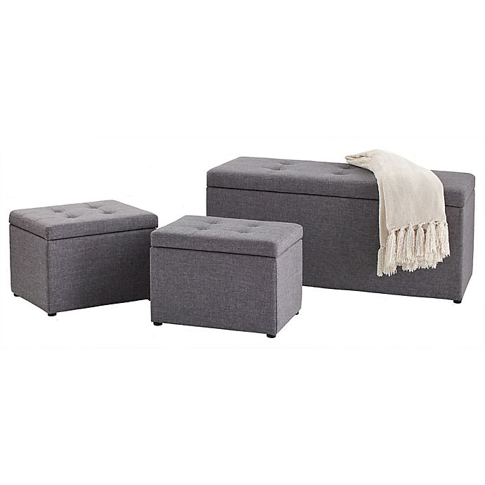 Stupendous 3 Piece Ottoman Set In Grey Bed Bath Beyond Gmtry Best Dining Table And Chair Ideas Images Gmtryco
