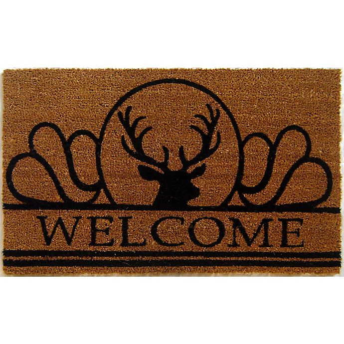 Alternate image 1 for Nature by Geo Crafts Moose 18-Inch x 30-Inch Door Mat in Natural/Black