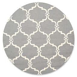 Safavieh Cambridge Diana 8-Foot Round Area Rug in Dark Grey/Ivory