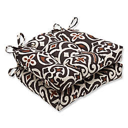 Pillow Perfect New Damask Chair Pads in Brown (Set of 2)