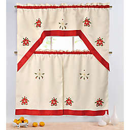 Poinsettia 36-Inch Kitchen Window Curtain Tiers and Valance