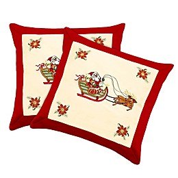 Santa Claus Square Throw Pillow Covers in Red (Set of 2)