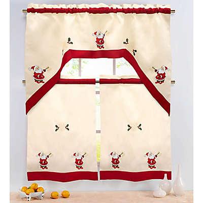 Santa 36-Inch Kitchen Window Curtain Tiers and Valance
