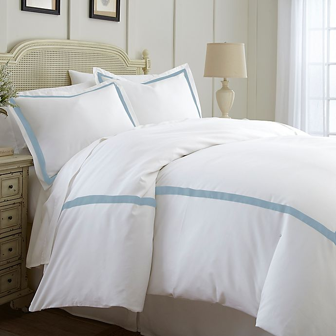 Alternate image 1 for Italian Hotel Collection Satin Band Queen Duvet Cover in Light Blue
