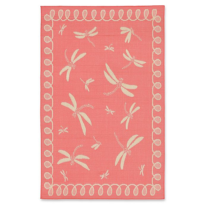 Alternate image 1 for Liora Manne Dragonfly 3-Foot 3-Inch x 4-Foot 11-Inch Indoor/Outdoor Accent Rug in Coral