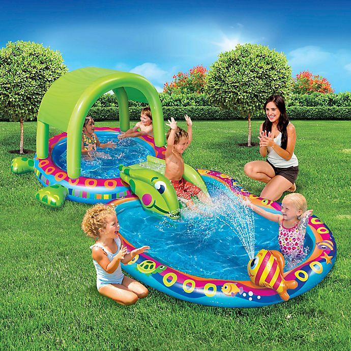 Alternate image 1 for Banzai Shade 'N Slide Turtle Splash Pool