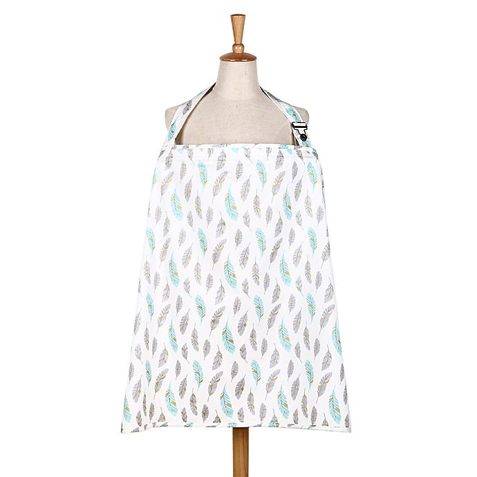 Alternate image 1 for The Peanut Shell® Gilded Feather Nursing Cover in Mint/Gold