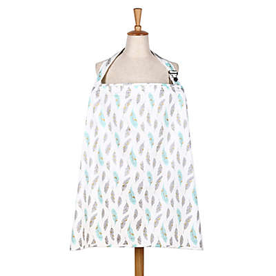 The Peanut Shell® Gilded Feather Nursing Cover in Mint/Gold