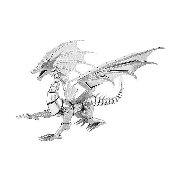 Alternate image 1 for Fascinations ICONX 3D Metal Silver Dragon Model Kit