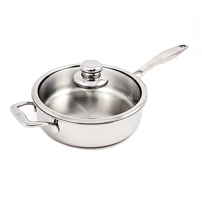 Buy Swiss Diamond Nonstick Clad Stainless Steel 3 2 Qt Covered Saut Pan With Helper Handle