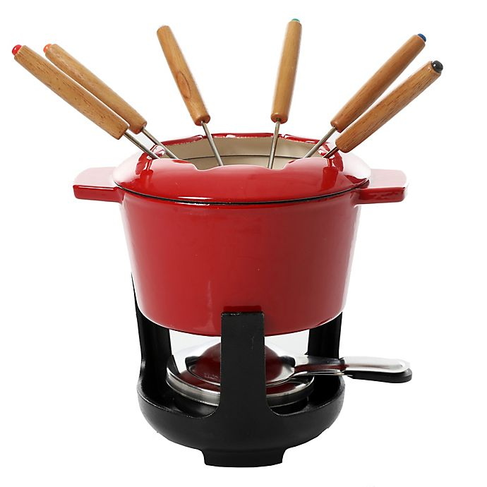 Alternate image 1 for Artisanal Kitchen Supply® 13-Piece Enamel Fondue Set in Red