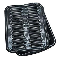 Range Kleen® Heavy-Duty Porcelain Full Size Broiler Pans in Black