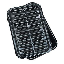 Range Kleen® Heavy-Duty Porcelain Full Size Broiler & Bake Pans in Black (Set of 2)