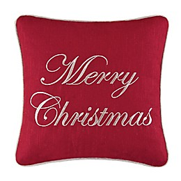 Merry Christmas Square Throw Pillow in Red