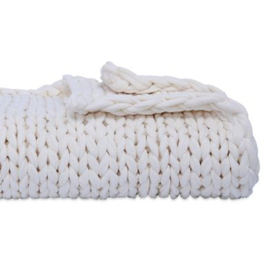 Berkshire Blanket Chunky Throw Blanket In White Bed Bath