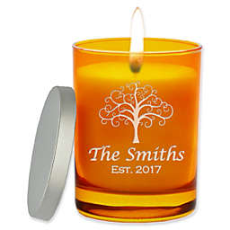 Carved Solutions Gem Collection Tree of Life Soy Wax Candle in Glass Vessel in Topaz